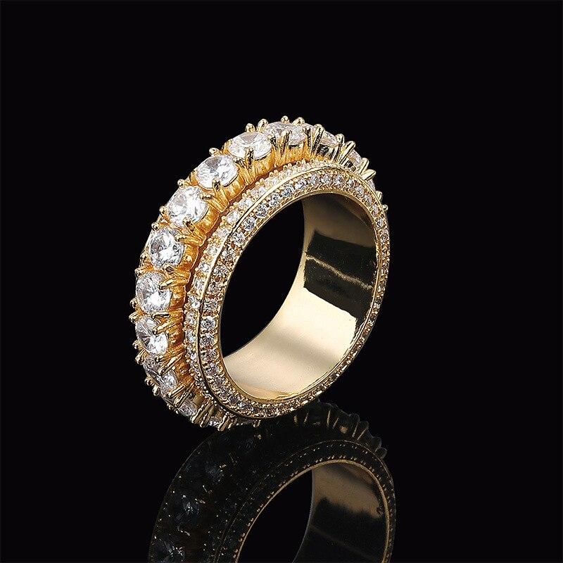 Bague homme cinq rangées Zircon rotatif cuivre or argent cubique Zircon anneau mode Hip Hop bijoux