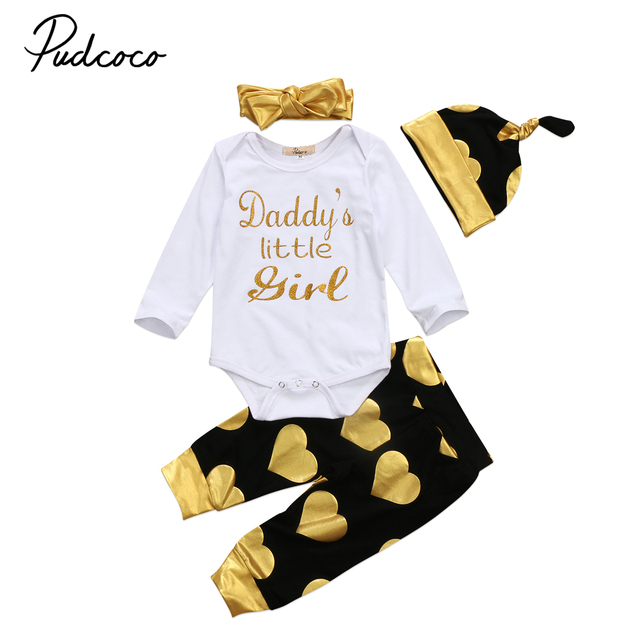 8485d31a5 4PCS Floral Set Newborn Baby Girls Daddys little girl Long Sleeve Tops  Romper +Long Pants Heart Hat Headband Outfits Clothes