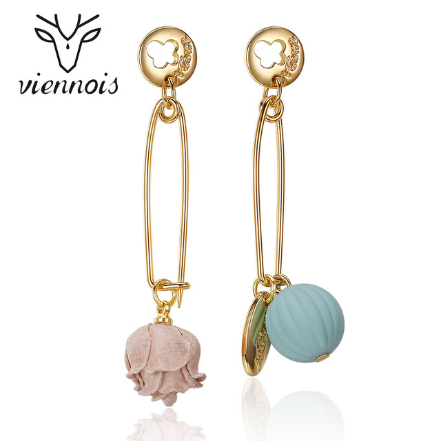 Viennois Gold Color Asymmetric Women Earrings Flower And Fruit Dangle Long Drop For