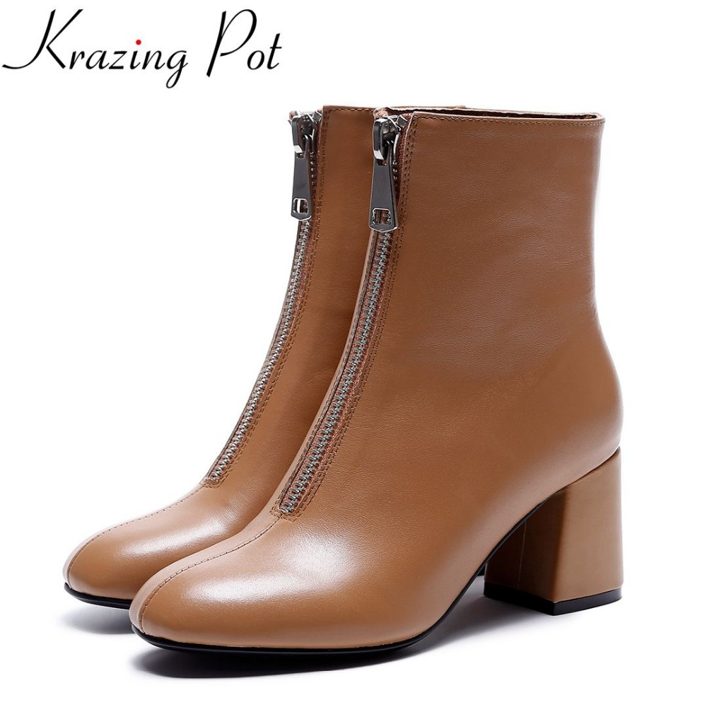 Krazing Pot new arrival superstar genuine leather thick heel round toe zipper chelsea boots winter high heels ankle boots L82