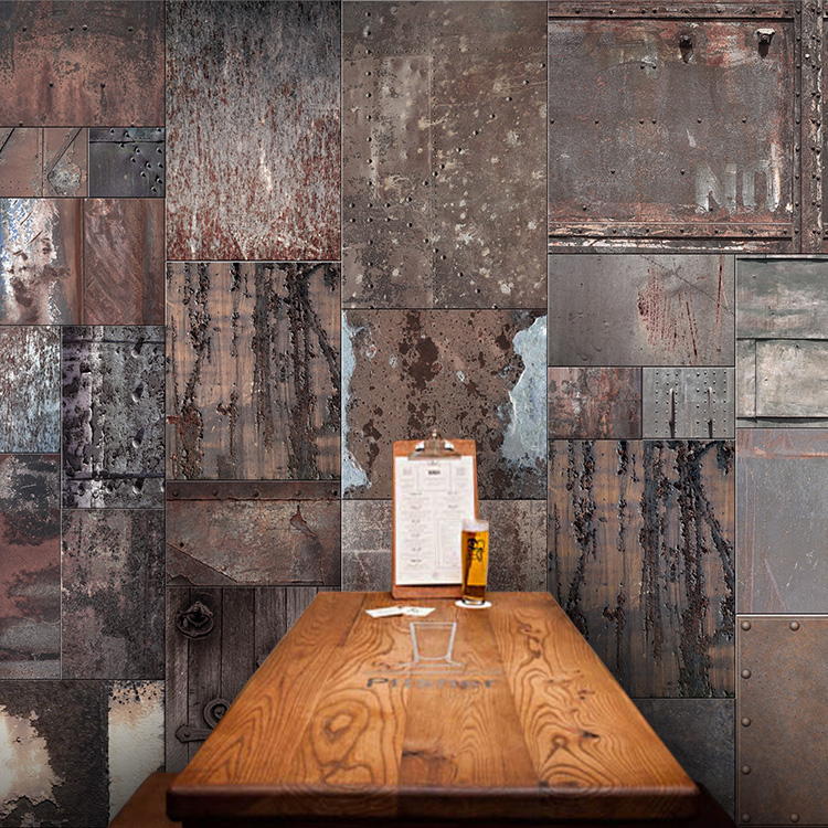Custom Mural Personality Retro Rusty Iron Sheet Metal Large Bar Ktv Wallpaper Cafe Restaurant In Wallpapers From Home