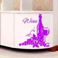 Winogrona I Butelka Wina Ściany Naklejki Kreatywny Naklejki Ścienne Wymienny Home Decor Salon Kuchnia Naklejka Ścienna Art Murale