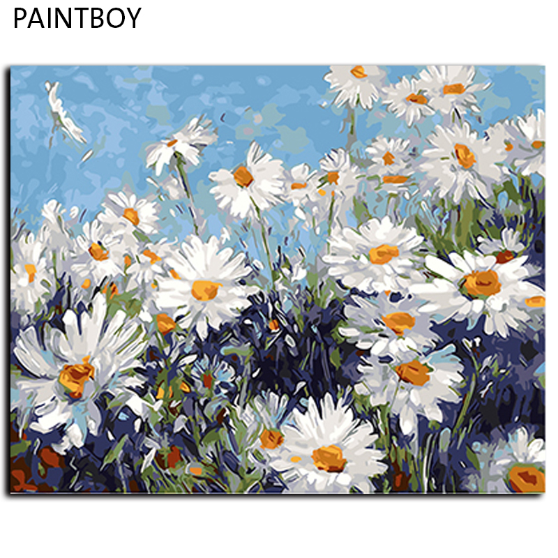 Oil Painting Framed Flower Painting By Numbers DIY Canvas Oil Painting Home Decoration For Living Room 40*50cm GX4227