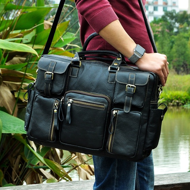 $ US $57.12 Men Real Leather Antique Large Capacity Travel Briefcase Business 15.6