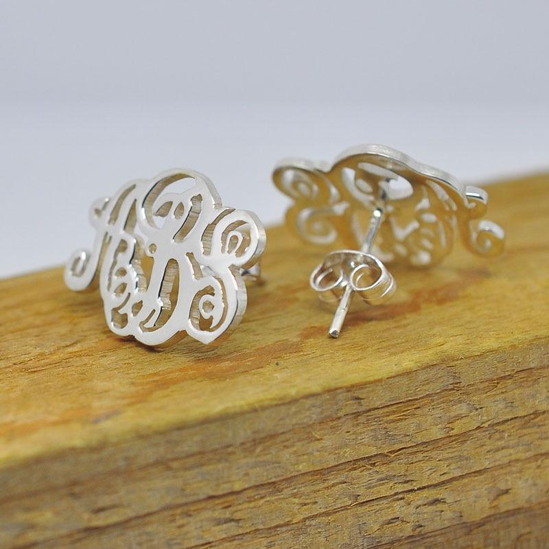 Personalized Initial Earring Monogram 925 Sterling Silver Custom 3 Letters Stud Earrings Monogrammed Jewelry Christmas Gift