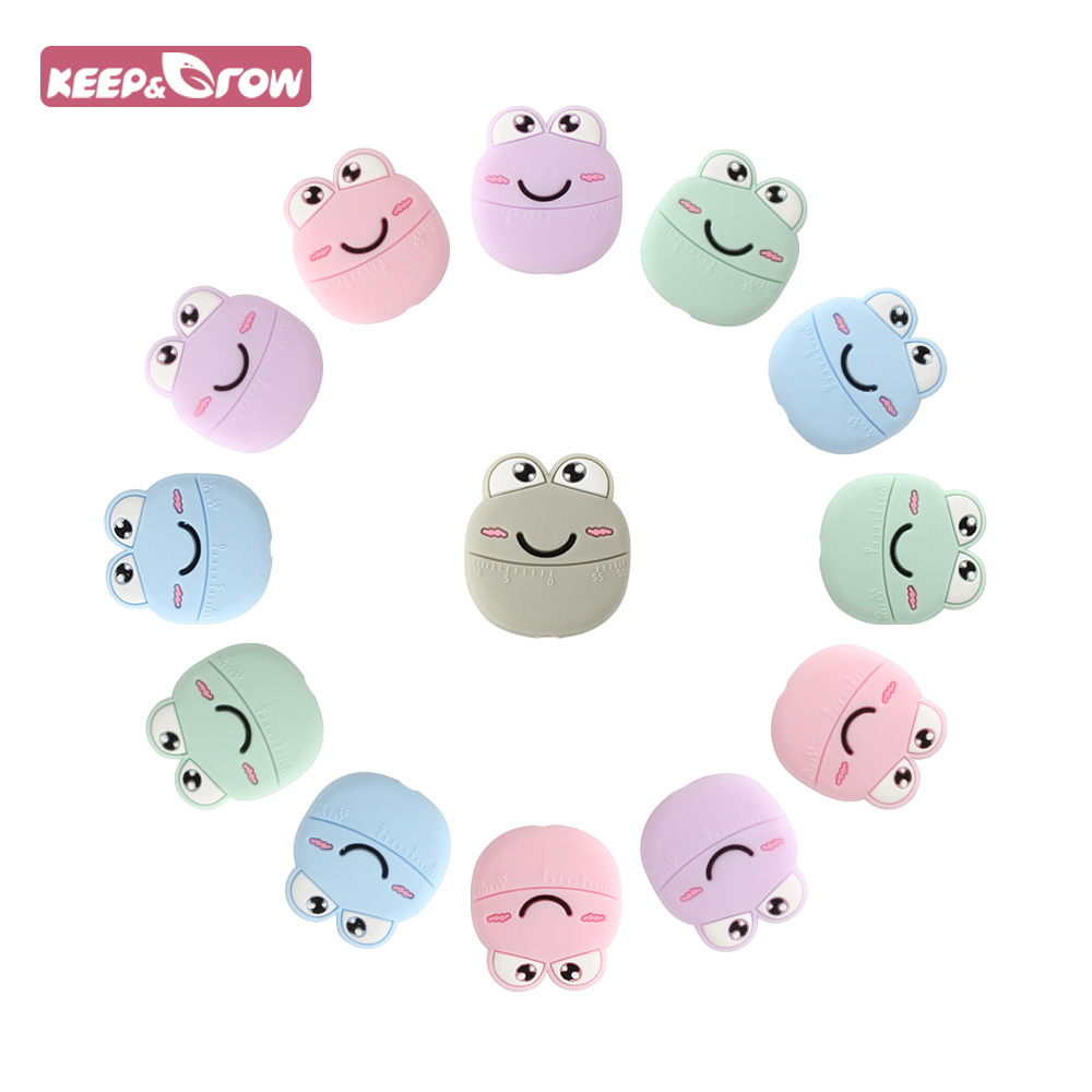 KEEP&GROW 4PCS Frog Beads BPA Free Silicone Teether Cartoon Baby Products Teething Beads Chew Silicone Beads For Jewelry Making