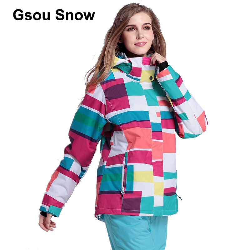 Gsou Snow Women Windproof Ski Jacket Mountain snowboard suit Waterproof winter sport coat 1401-022 цена