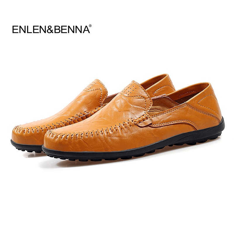 Enlenbenna Brand Fashion Shoes Style Soft Moccasins Men Loafers High Quality Genuine Leather Shoes Men Flats Men's Driving Shoes new style comfortable casual shoes men genuine leather shoes non slip flats handmade oxfords soft loafers luxury brand moccasins
