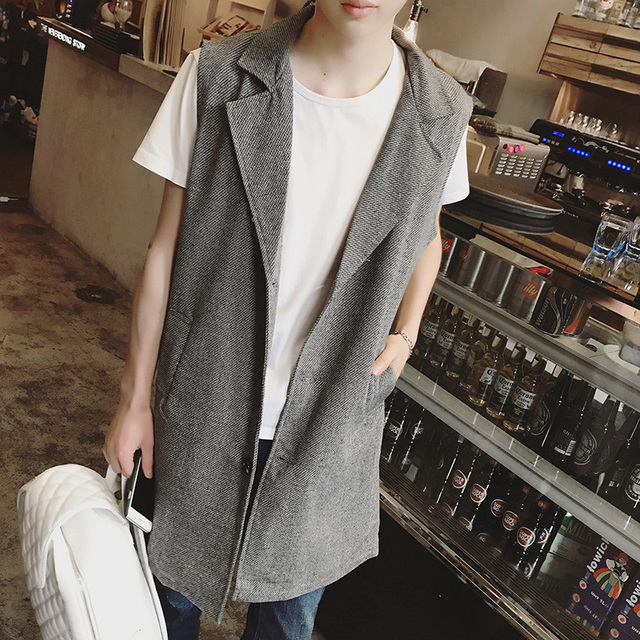2017 spring Men loose style vest fashion casual tank top men sleeveless coat Tees Shirt autumn long waistcoats jacket K643