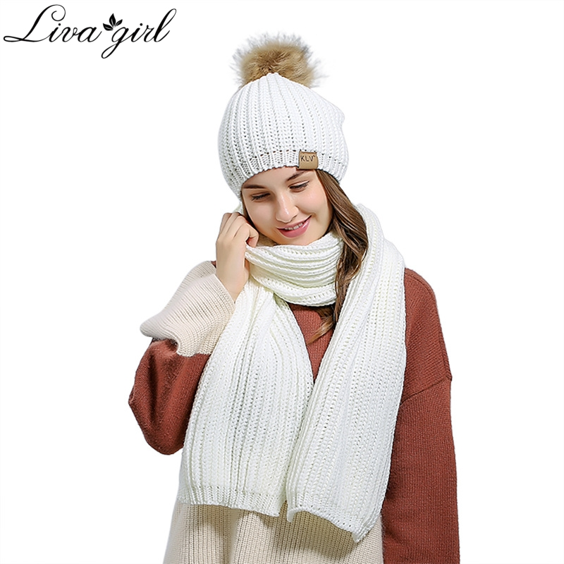 Top Quality Scarf And Hat Set 2018 Women 200cm Knitted Warm Girls Thicken Knitting Collars Skull Caps Beanie Ball Hats V8
