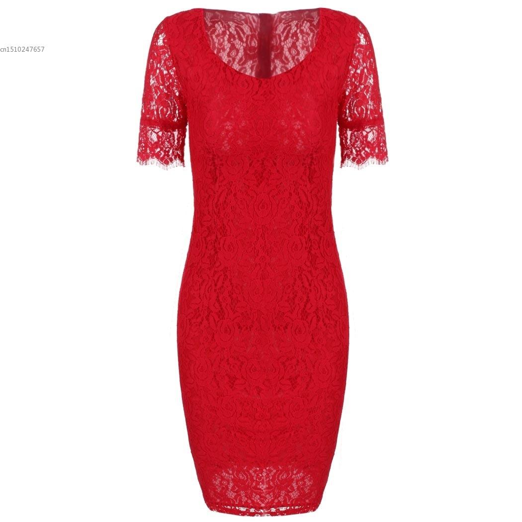 Compre Ver O Novo Estilo Moda Feminina Elegante Bodycon Manga Curta Lace Red