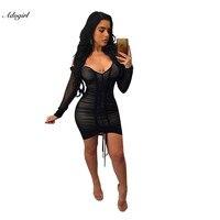 Adogirl Nowa Wiosna Jesień Kobiety Ubierają Głęboki Dekolt Sexy Black Mesh Sukienka Kobiety Plisowane Draw String Bodycon Szata Vestidos S-XL