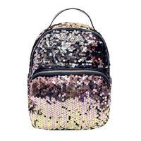 Hot Women Leather Backpack Sequins Travel Satchel Black Sequin Backpack Backbag Mochilas Feminina 480