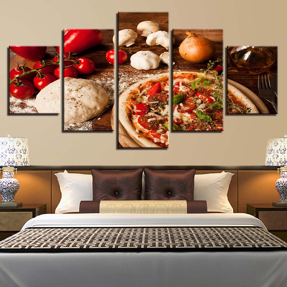 Modern posters home decoration wall art pictures framework 5 panel pizza onions for living room hd printed cuadros painting