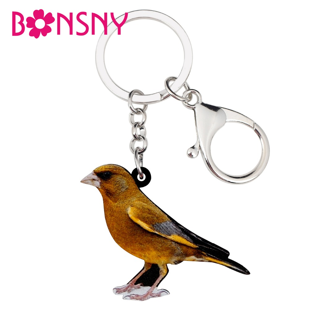 Bonsny Acrylic Fashion Greenfinch Bird Key Chains Keychains Rings Cute Animal Jewelry For Women Girl Bag Car Pendant Charms Gift