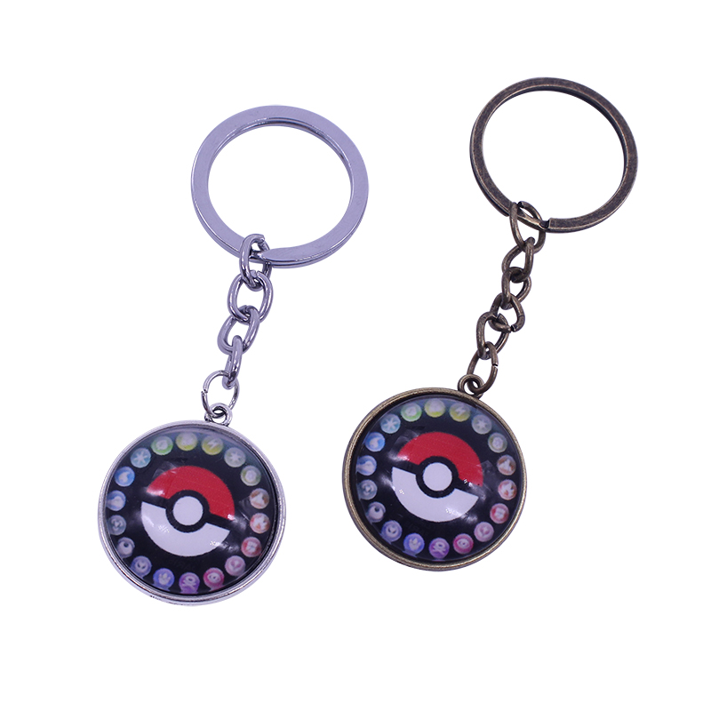 2017 Pokemon Keychain Pokeball Anime Action Toys Punk Gothic Go Key Chain Time Gem Key Holder Chaveiro Pendant Wholesale