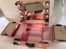 Rose-Golden LED White Lights Studio Wheeled Professional Beauty Box Trolley Makeup Case & Organizer with Light  2016 New