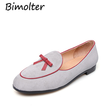 Bimolter Brand Round Toe British Style Womens Shoes Vintage Butterfly-knot Genuine Leather Women Loafers Thick Heels Flats C012