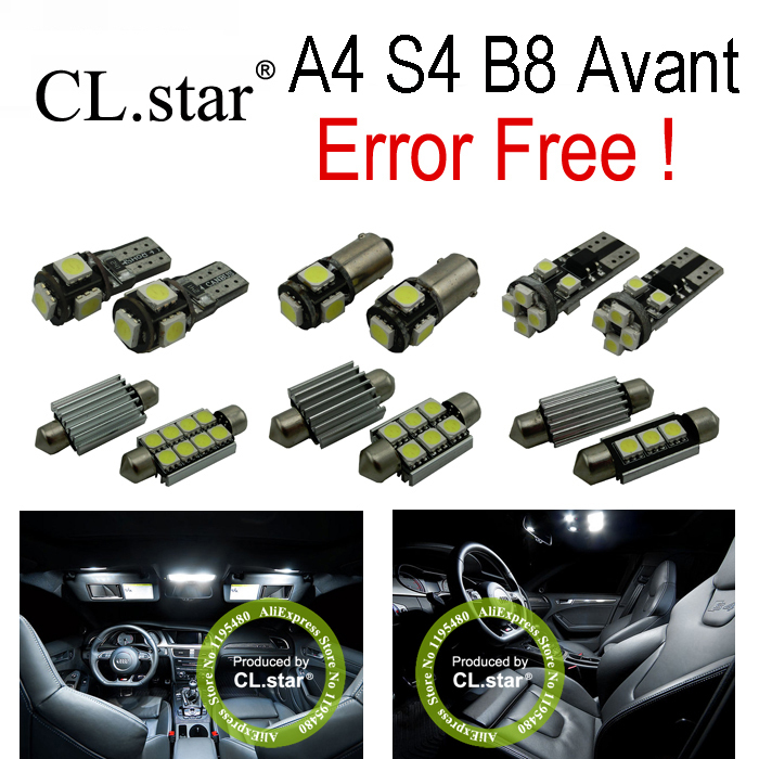20pcs Error Free for Audi A4 S4 B8 Quattro Avant Wagon LED bulb Interior dome Light Kit + License plate lamp (2009-2015) 2pcs 12v 31mm 36mm 39mm 41mm canbus led auto festoon light error free interior doom lamp car styling for volvo bmw audi benz