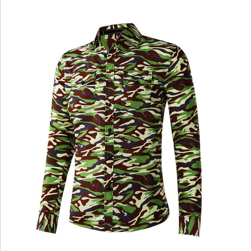 New Arrive 2018 Brand Men Shirt Camouflage Dress Shirt  Long Sleeve Slim Fit Camisa Masculina Casual Male Camisa Men Shirts XXL