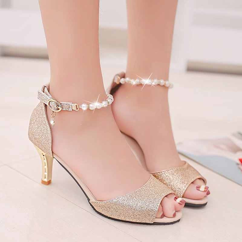 e2a22c504f4 Summer Peep Toe Women Sandals String Bead Ankle Strap High Heels Shoes  Wedding Shoes Silver Gold