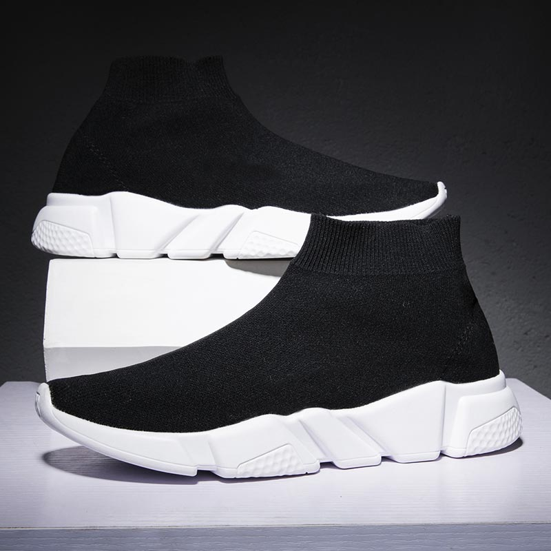 Large Size High Top Sock Sneakers Women Sport Shoes Sports Female Breathable Running Shoes Men Black Calzado Mujer 2019 A-246