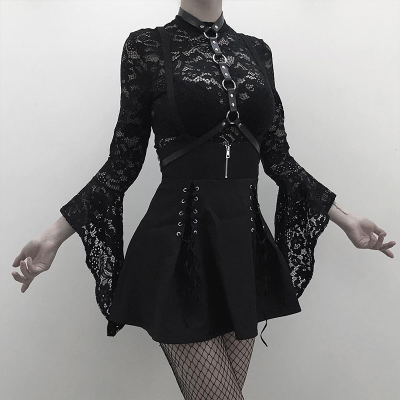 Women 2 Piece Set Gothic Black Sexy Lace Body Bodysuit Pleated Skirts Two Piece Sets Lace Up See Through Clubwear Girl Sets