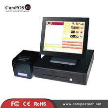 Factory direct sale pos system all in one windows pos cash register with 80mm thermal printer and money box