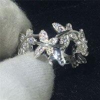 Сексуальная Бабочка Форма Jewelry Кольцо из стерлингового серебра 925 Сона 5A камень циркон Обручение обручальное кольца для мужчин и женщин под