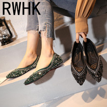 RWHK 2019 spring new women's shoes wild shallow mouth work inside pointed rhinestone flat shoes female wild lady B284 korean female black work shoes candy shoes pointed flat with flat shoes shallow mouth small son wild shoes b25