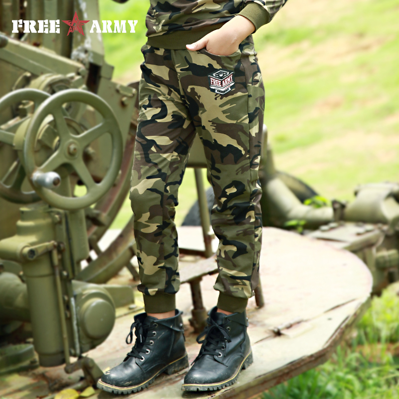 FreeArmy Spring Pants Teenagers Elastic Spandex Cotton Pants Boys Sport Track Pants Casual Camouflage Pants Children's Clothing