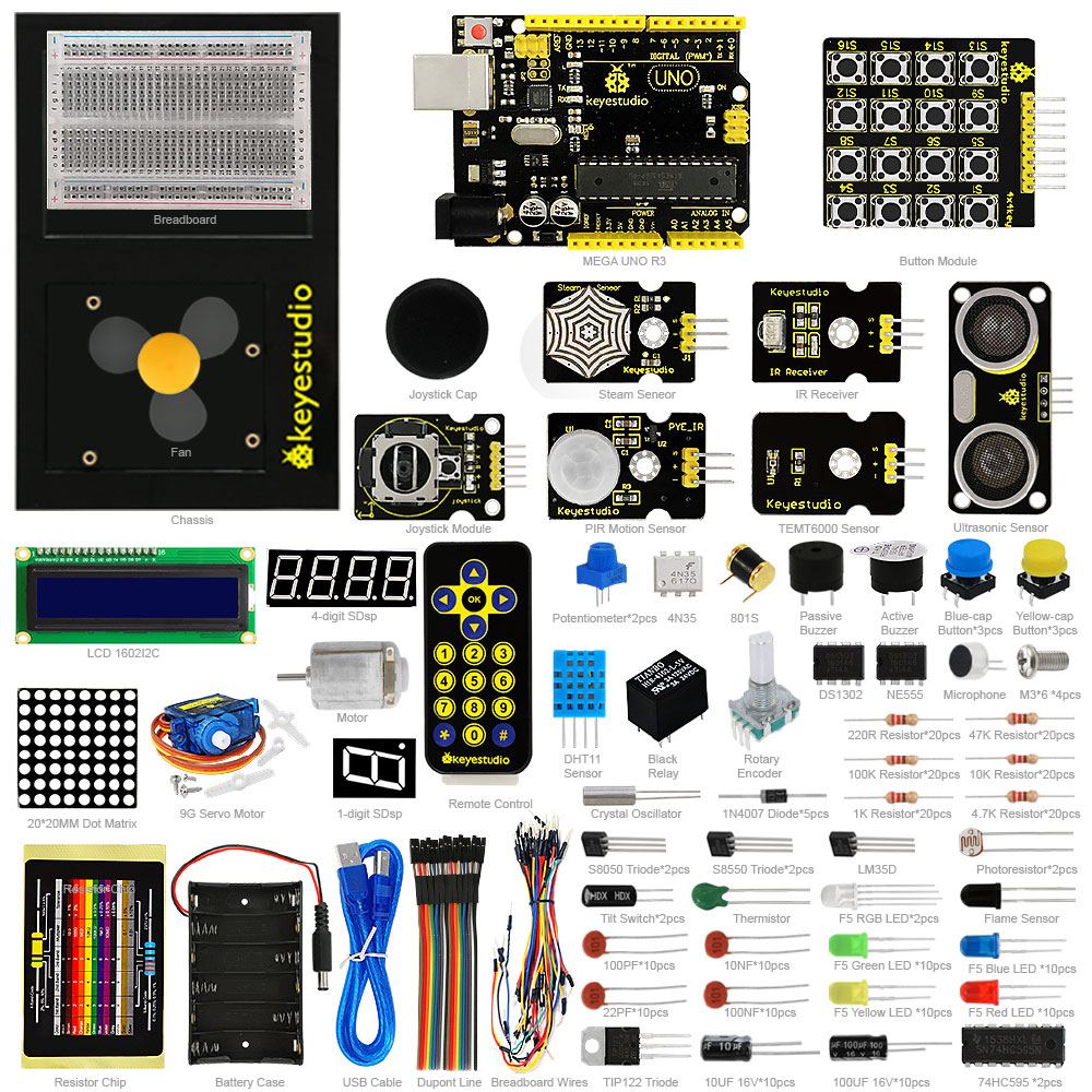 New Keyestudio Updated Maker learning kit Starter kit for arduino starter UNOR3 1602LCD servo Chassis PDF