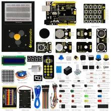 Nowy keyestudio aktualizowane ekspres learning kit/zestaw startowy dla arduino starter + unor3 + 1602lcd serwo + podwozie + projet pdf