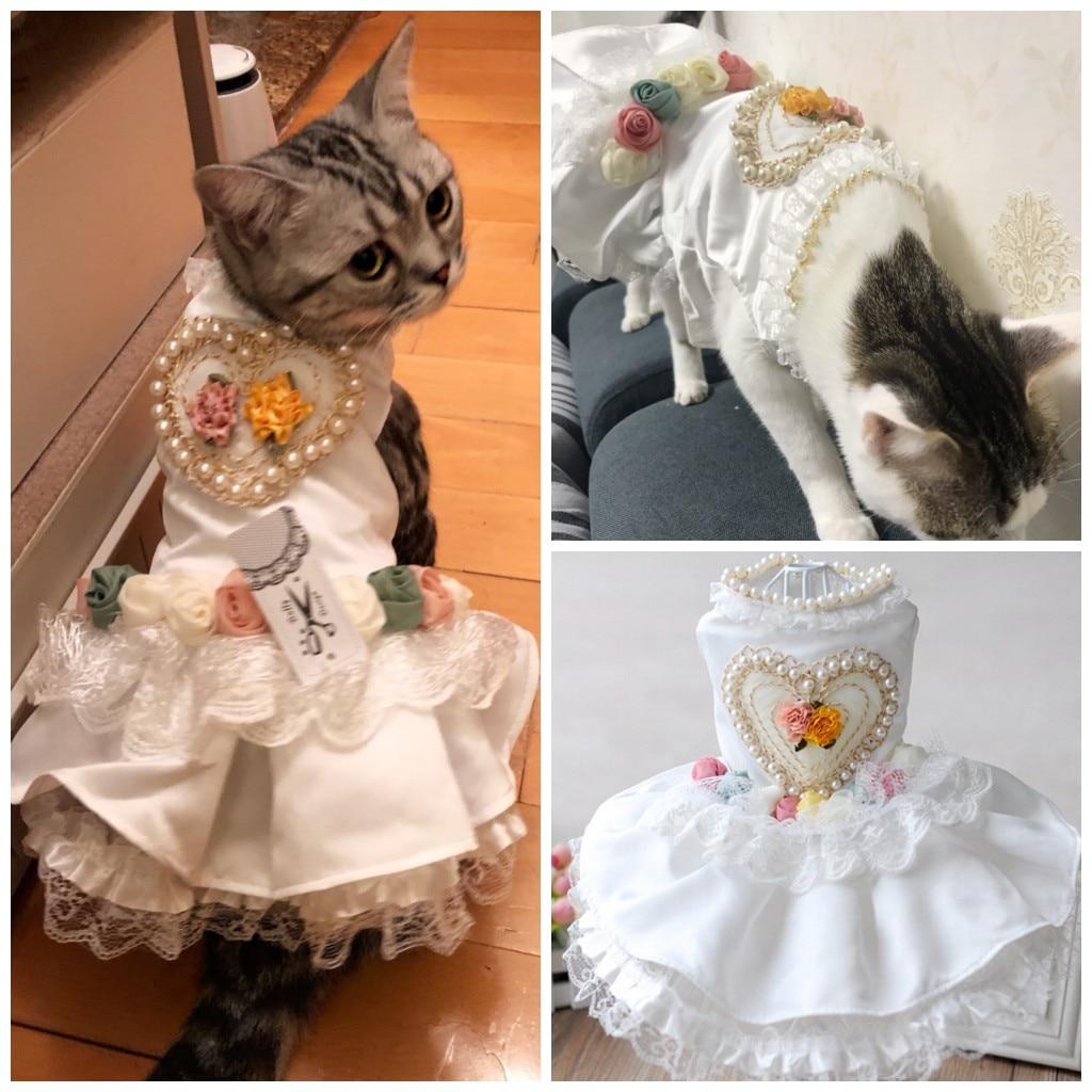 Veshjet e vogla të dasmës për macet Princesha qen Vjeshja për - Produkte për kafshet shtëpiake - Foto 3