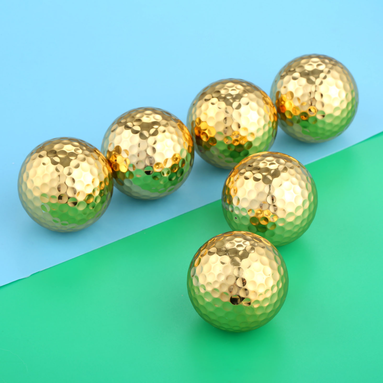 6 Pcs/Lot Two Layer Gold Color  Golf Balls Golf Practice Balls Golfer Training Accessories Diameter 42.67mm