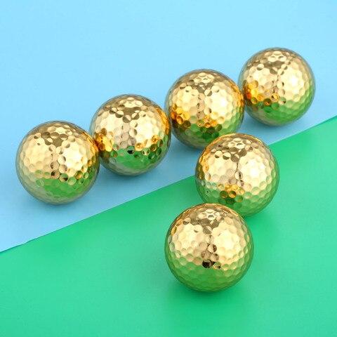 Camadas de Ouro Lote Duas Cor Bolas Golfe Prática Formação Acessórios Diâmetro 42.67mm 6 Pçs –