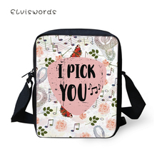 ELVISWORDS Fashion Womens Messenger Bags Creative Words Pattern Woman Cross Body Bag Cartoon Design Girls Mini Flaps Purse