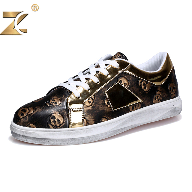 Z Superstar Designer Famous Retro Skull Pattern Gold Men Casual Shoes European style Fashion Brand Breathable Lace-Up Men Shoes