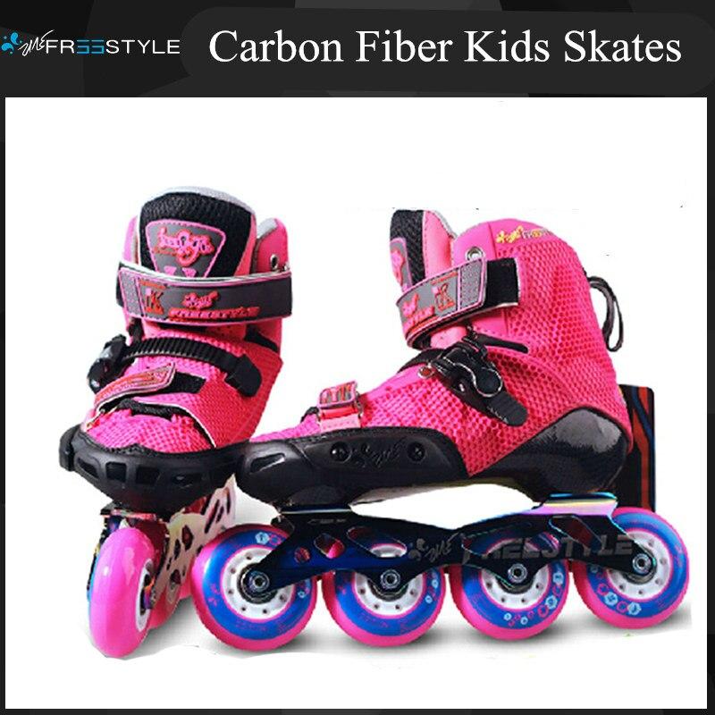 Prix pour Professionnel Enfants Patins À Roues Alignées avec Fiber De Carbone Boot pour FSK Slalom Enfants Pro De Patinage Chaussures Patines Rouge Bleu FreeStyle