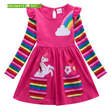 цена на Girls Dress 100% Cotton Children's Clothes Girls Long Sleeve Unicorn Dress Spring and Autumn Embroidered Pocket Rainbow Sleeve