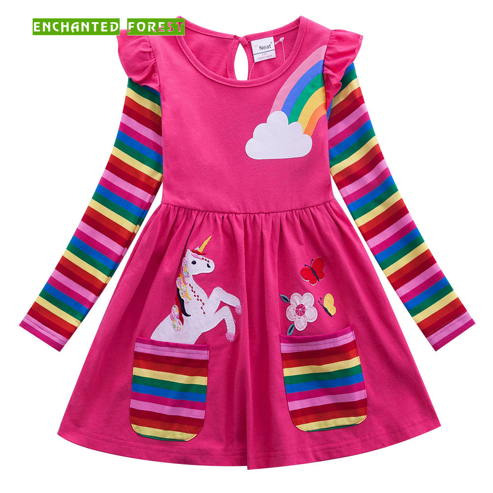 Girls Dress 100% Cotton Children's Clothes Girls Long Sleeve Unicorn Dress Spring and Autumn Embroidered Pocket Rainbow Sleeve