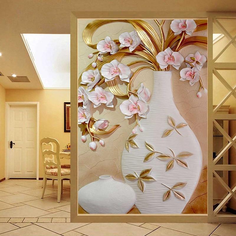 3d Stereoscopic Mural Wallpaper Custom Size 3d Stereoscopic Relief Flowers Vase Living