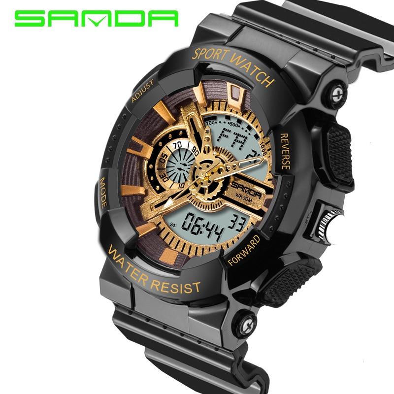 2018 Top Fashion Watches Male Sanda Fashion Watch Men Style Waterproof Sports Military S Shock Luxury Analog Led Quartz Digital