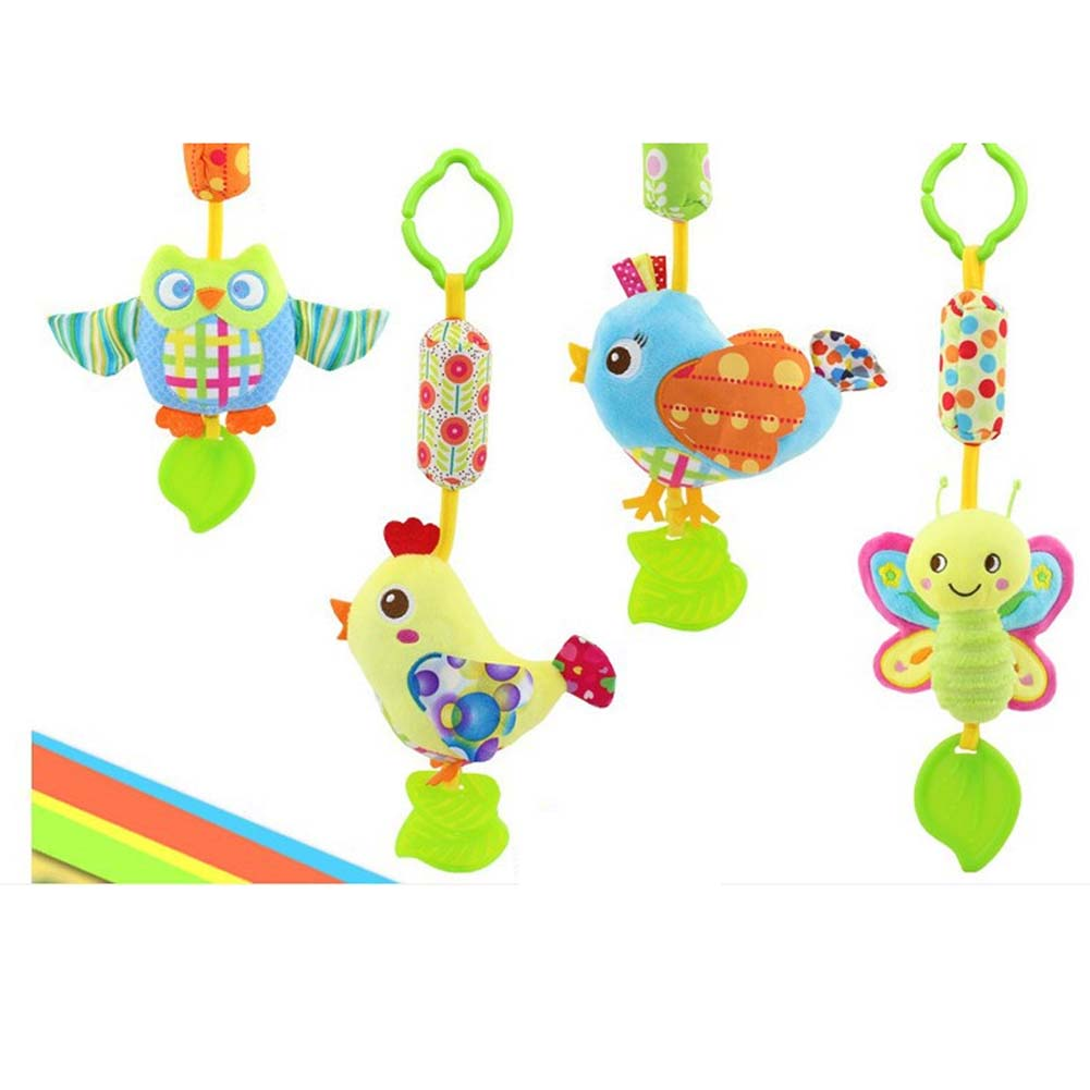 1pc Baby Rattles With Teether Baby Toys Bird/Butterfly/Owl/Chick Animals Dolls Stroller Crib Hanging Wind Chimes Toy