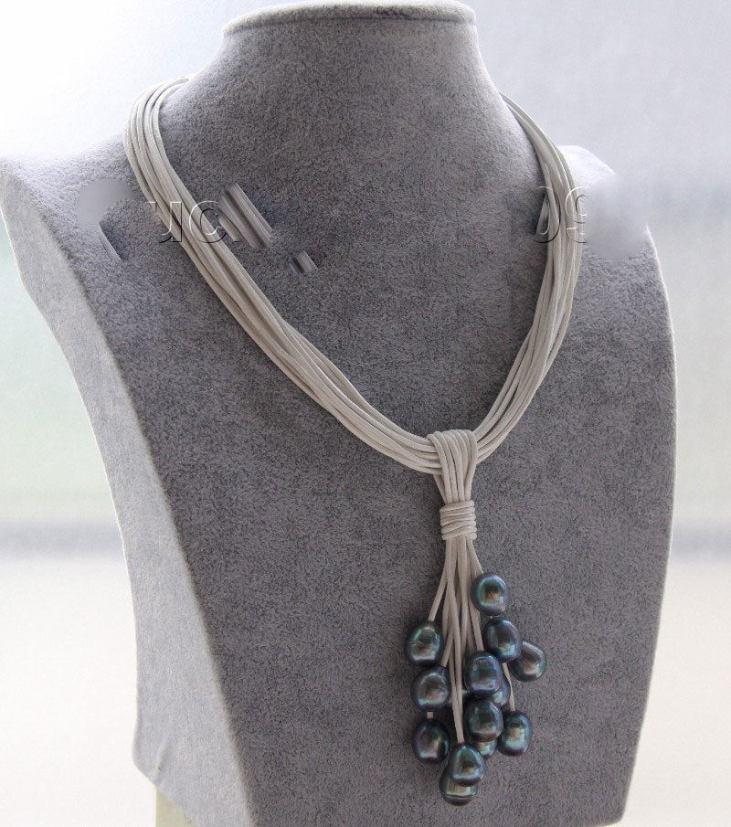 Fast SHIPPING Choker 16 15row 14mm peacock black pearls white leather Pendant necklace (A0513)