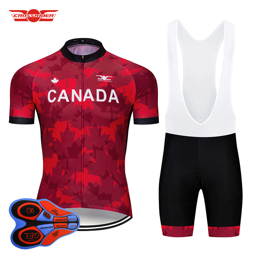 2018 Pro Team Canada Cycling Jersey Set MTB Mountain Bike Clothing Bicycle Wear Clothes Mens Shorts Maillot Culotte Sports Suit crossrider 2018 cycling pro jerseys set mtb uniform mountain bike clothing bicycle wear clothes men short maillot culotte