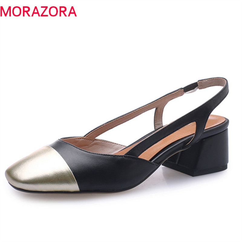 MORAZORA 2019 New Arrive Women Pumps Genuine Leather Summer Shoes Mixed Colors Square Heels Shoes Woman Dress Shoes Big Size 43