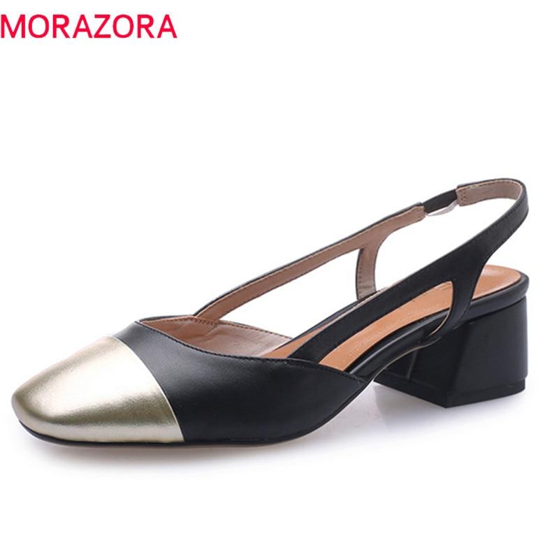 MORAZORA 2019 nouveau arrivent femmes pompes véritable d'été en cuir chaussures couleurs mélangées talons carrés chaussures pour femme chaussures habillées grande taille 43