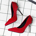 2017 Nova Moda Primavera Mulheres Sexy Sapatos com Saltos de Metal Esculpidas Sapatos de Camurça Fina Casamento Sapatos Asakuchi Apontou Bombas Feminino
