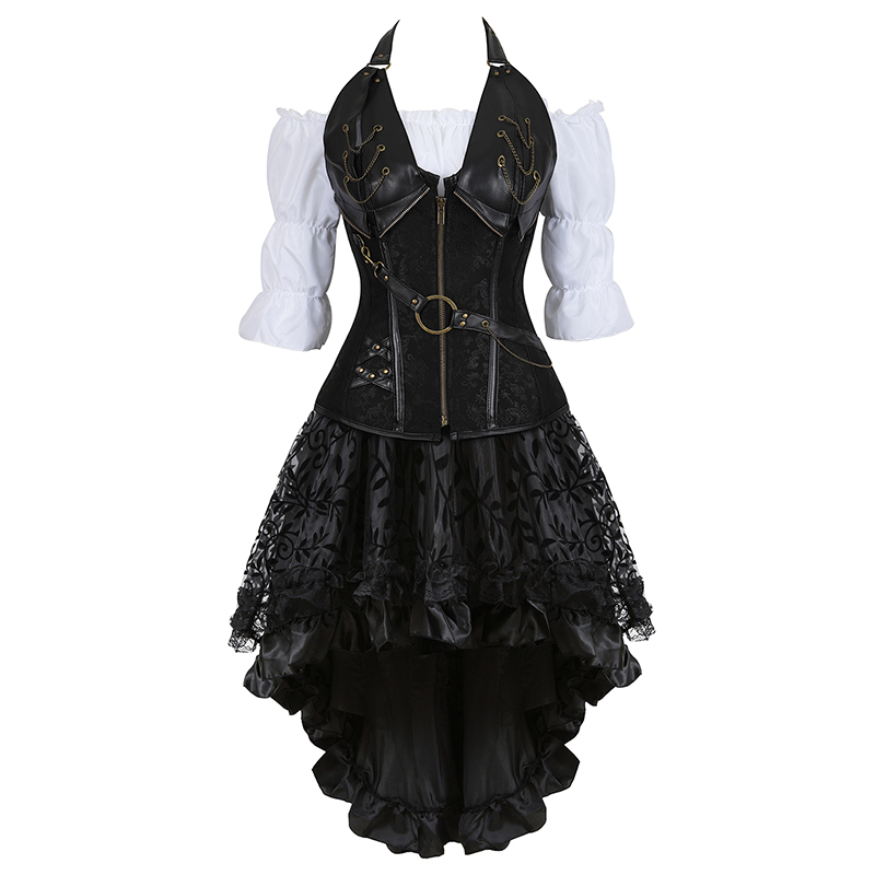 Image 4 - Steampunk Bustier Corset Plus Size 6XL PU Leather Corset Skirt Tops 3 Piece Set Gothic Burlesque Pirate 2019 New Arrival 8105 3-in Bustiers & Corsets from Underwear & Sleepwears